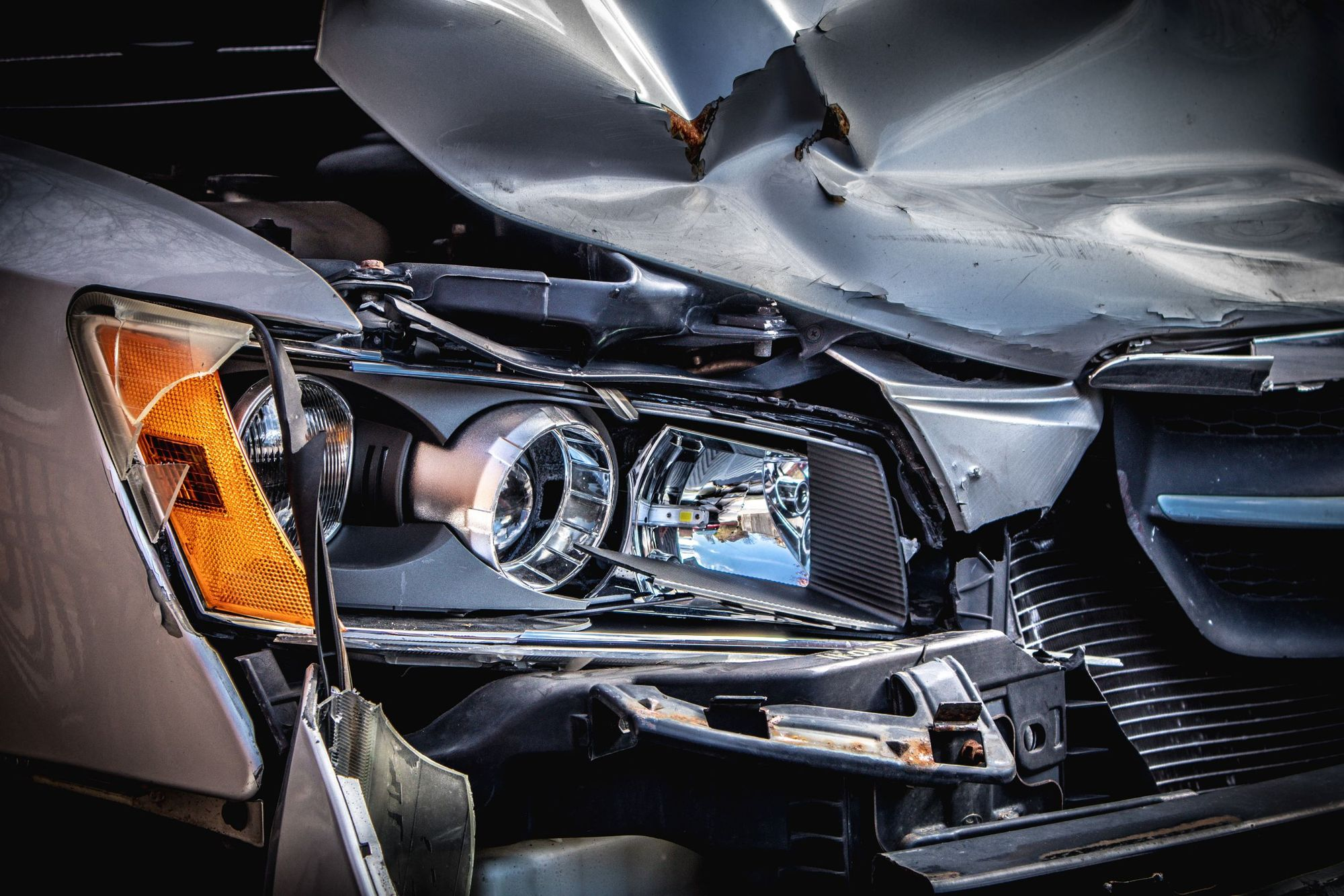 Photo of a damaged car after an accident