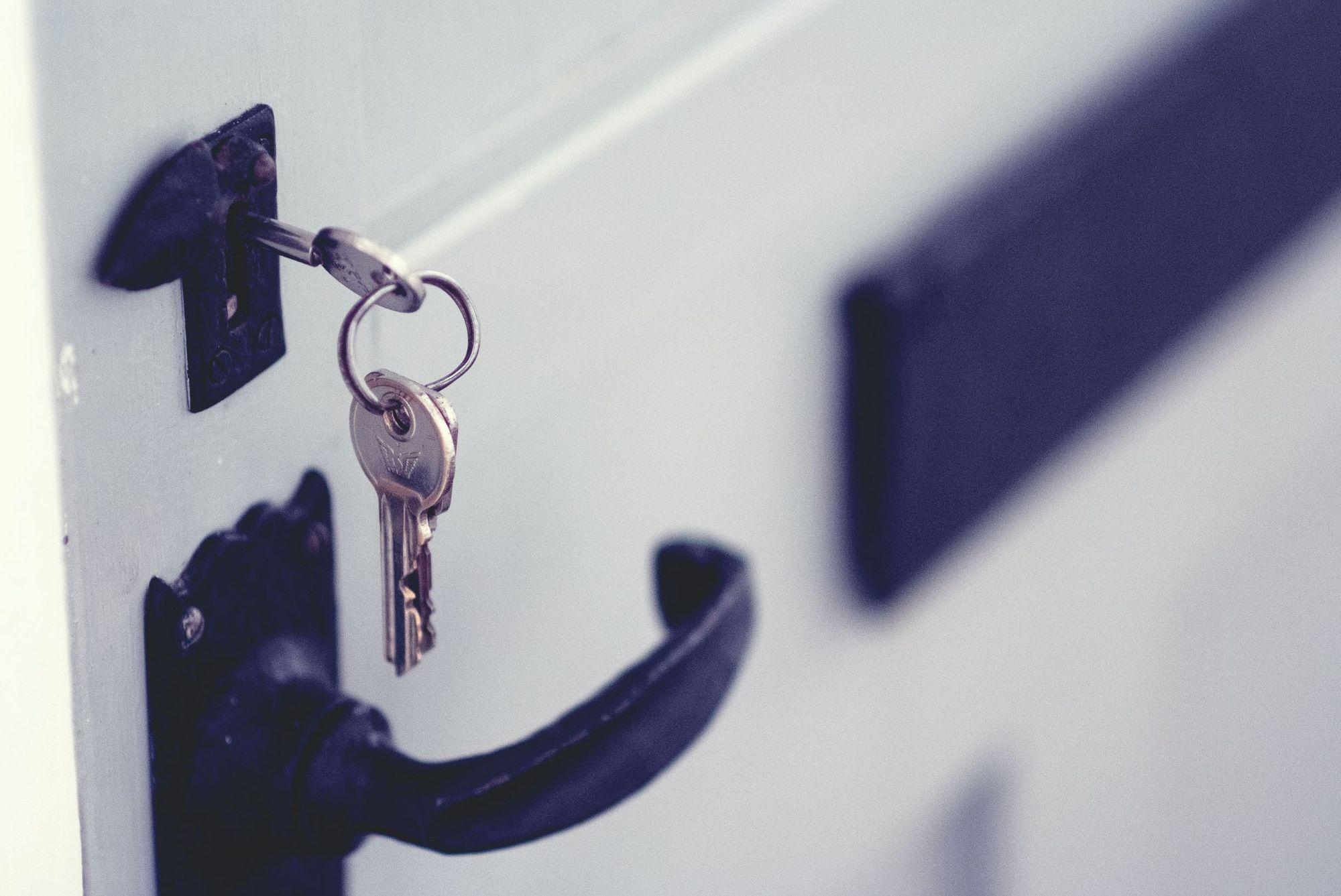 Keys dangling from door