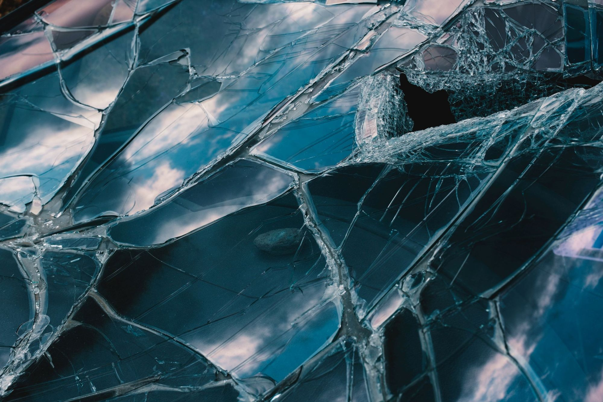 Photo of a cracked windshield.